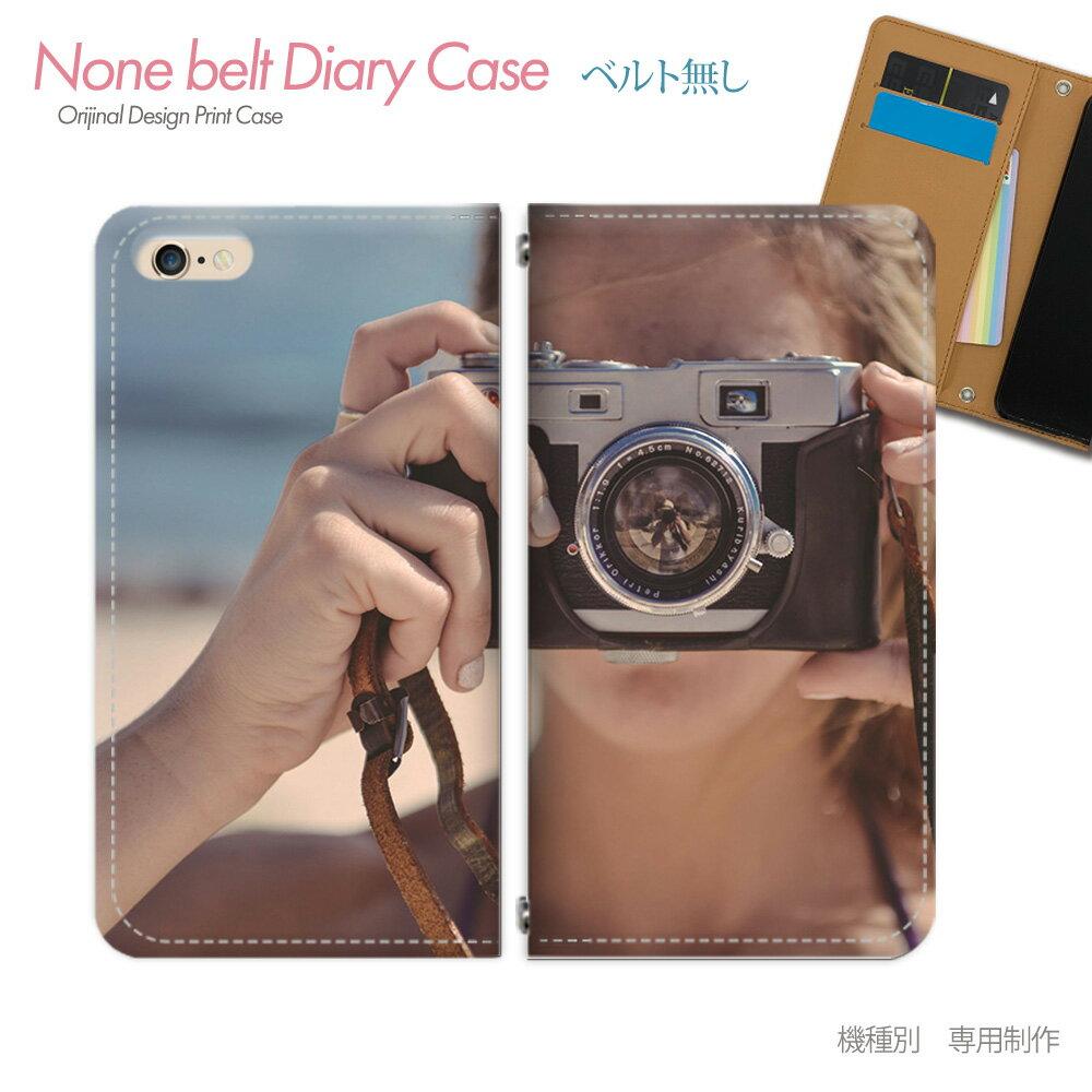 スマホケース 手帳型 全機種対応 ベルトなし PHOTO 女性 カメラ 海 iphoneX Xperia XZ2 GALAXY S9/S9+ SH-03J SHV39 iphone8 AQUOS R ポスター01 [db17602_03]