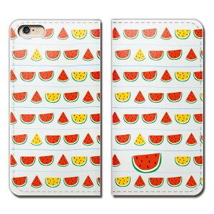 AQUOS L2 UQ mobile SH-L02 ケース 手帳型 ベルトなし すいか スイカ 西瓜 夏 野菜 果物 スマホ カバー 食べ物 フード eb25803_01