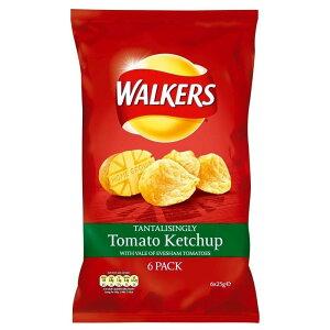 Walkers Crisps - Tomato Ketchup (6x25g) 歩行者のポテトチップス - トマトケチャップ( 6X25G )