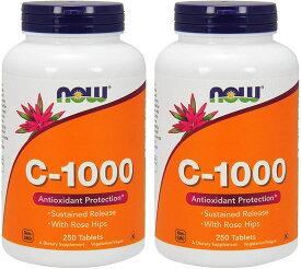 ナウフーズ 【2個セット】 ビタミンC1000 ローズヒップ タイムリリース 250粒 Vitamin C-1000 [海外直送品]