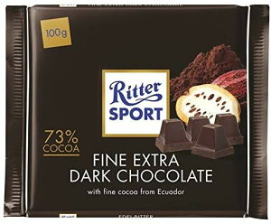 リッタースポーツ 73%ダークチョコレート Ritter Sport Extra Fine 73% Dark Chocolate 100g (Pack of 2) [並行輸入品]