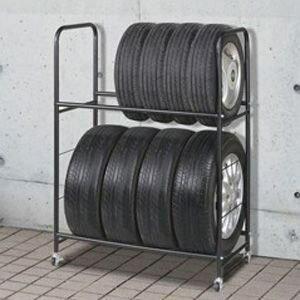 タイヤスタンドワイドカバー付幅85×奥行45cm[VS-R064]直径64cm以内のタイヤ対応耐荷重120kg上段から下段高さ55cm65cm75cm3段階調整ノーマルスタッドレスタイヤスタンド収納ストッパー付きキャスター