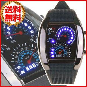 LED デジタル腕時計 スピードメーター デザイン 生活防水 文字盤ブラック タコメーター クォーツ 男性用 時計 腕時計 メンズ腕時計 デジタルウォッチ レース 車 F1レーサー 気分が味わえる 3ms ★★