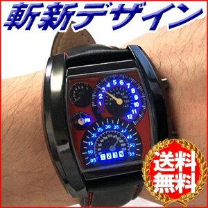 【送料無料】 腕時計 スピードメーターデザイン LEDデジタル腕時計 合皮 ブラック カレンダー表示 デジタルウォッチ デジタル表示 LED LED腕時計 スピードメーター メンズ ★★ 1ms