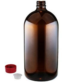 遮光瓶 中栓付 褐色 1000ml(1L)サイズ 詰め替え用ボトル ガラス瓶 空容器 茶色ビン 消毒用アルコール対応 大容量 保存用 詰め替え容器 アルコール可 ガラスボトル