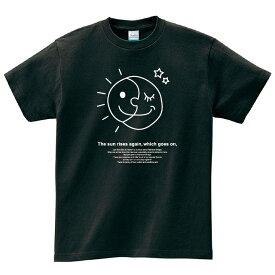 太陽と月 Tシャツ メンズ レディース 半袖 服 ゆったり おしゃれ トップス 黒 ピカソ ペアルック プレゼント 大きいサイズ 綿100% 160 S M L XL