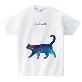 ネコの散歩 Tシャツ メンズ レディース 半袖 服 ゆったり おしゃれ トップス 白 ペアルック プレゼント 大きいサイズ 綿100% 160 S M L XL