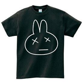 うさぎ 黒 白 Tシャツ メンズ レディース 半袖 服 ゆったり おしゃれ トップス ペアルック プレゼント 大きいサイズ 綿100% 160 S M L XL