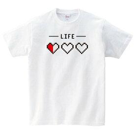ライフゲージ ゲーム Tシャツ おもしろ メンズ レディース 半袖 ゆったり ドラクエ 白 30代 40代 大きいサイズ 綿100% 160 S M L XL