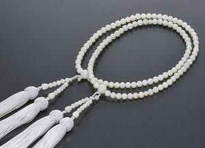 【10%割引クーポン配布中】 二輪数珠 二輪念珠 女性用 白珊瑚 共仕立 正絹細房 本式数珠 桐箱入