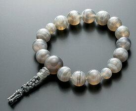 【10%割引クーポン配布中】 数珠ブレスレット 房付き 腕輪念珠 グレー縞瑪瑙 共仕立 大きなサイズ 手首数珠 桐箱入