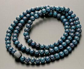 【10%割引クーポン配布中】 数珠ブレスレット 腕輪念珠 108玉 星月菩提樹 藍染 オニキス(般若心経)仕立 手首数珠 桐箱入