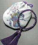 【10%割引クーポン配布中】神田真由作紫水晶数珠・数珠袋セット『百花の女王』