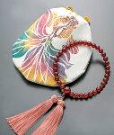 【10%割引クーポン配布中】神田真由作赤瑪瑙数珠・数珠袋セット『舞い踊る金魚』