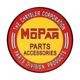アメリカンブリキ看板「MOPER PARTS & ACCESSORIES ROUND / モパー、パーツ、ラウンド」
