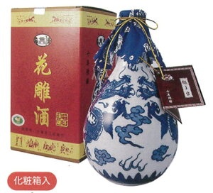 横浜中華街 越王台陳年10年花彫酒(白磁)、500ml、壷・紹興酒・化粧箱付き・縁起のよい双龍が描かれた壷のお酒です♪