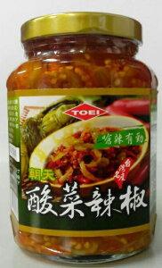 【半額セール】横浜中華街 TOEI 酸菜辣椒 (唐辛子入り高菜漬け)  365g