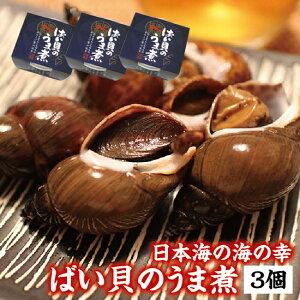 【家飲み・宅飲みのおつまみにも】大粒の身で味がしみてふっくら柔らか ばい貝のうま煮 お酒の肴に 冷凍便 3個セット