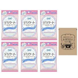 【送料無料】[セット品] ソフィ デリケートウェットシート 無香料 (6枚入×2コ) × 6袋 + SHOWルイボスティー1袋