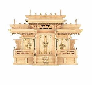 【神棚】屋根違い三 社マス組付き 中(ひのき)国産 日本製