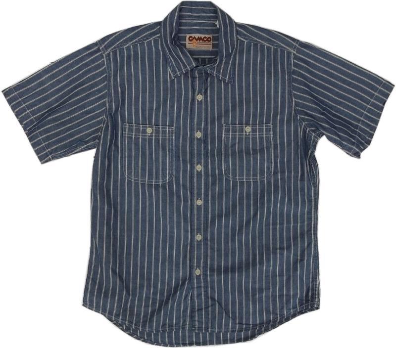カムコ 半袖 ストライプ シャンブレーシャツ ブルー CAMCO CHAMBRAY SHITRS 021