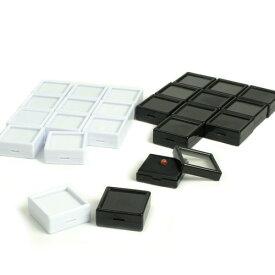ビーズ用具 ディスプレイ用品 ルースケース40×40mm 12個セット(白)(黒)|ビーズ|用具|便利用具|収納|ケース|