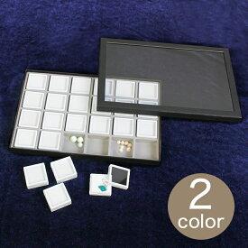 アクリル蓋紙箱 ケース+ルースケースセット 40×40mm用 24個 (白)(黒) | ルースケース ルース ディスプレイ 収納 蓋 アクリル 紙製 白 黒 40×40mm用