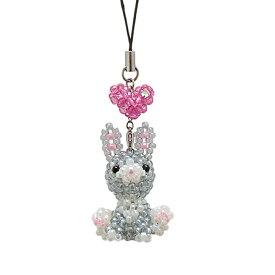 ビーズマスコット うさぎ MK-2 | ビーズキット うさぎチャーム ストラップ キット 可愛い うさぎ 兔 ハート 手芸