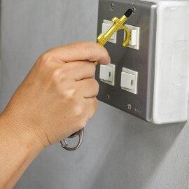 ドアオープナーリールキーホルダー付きゴールド・シルバー|ドアノブエレベーターボタンタッチパネルリールキーホルダーかばんバッグ便利グッズ