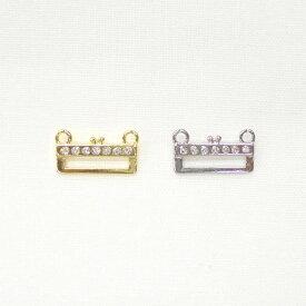 ラインストーン付き がまぐちステッチ金具 #102R(カン2個) ゴールド・シルバー | 金具 がまぐち ステッチ金具 ホビックス ビーズステッチ 石付き ゴージャス