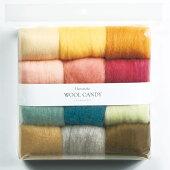 クラフトフェルト手芸フェルト羊毛(原毛)ウールキャンディ12色セットペールセレクション