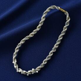 タカギ繊維 メタリックヤーンで編む きらめく組紐シリーズ ネックレス ブルー (ブレードディスクなし)