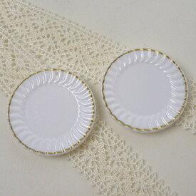 ミニチュア 金縁レース皿 白 2枚入 | トーカイ スイーツデコ ミニチュア食器 ハンドメイド 手芸 材料