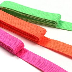 生地 コード・ひも Cotton Memory 蛍光色アクリルテープ 25mmX1.2M 【メール便可】 生地 副資材 カラーテープ テープ かばん 鞄 かばんテープ 鞄テープ 持ち手 持ち手テープ ネオン