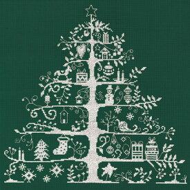 刺繍 刺しゅう輸入キット DMC クリスマスキット Christmas Tree 生地グリーンの白刺し JPBK557G 刺繍キット 【刺繍・刺しゅう】 【メール便可】【手芸 クリスマス】