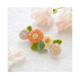 \夏SALE/刺繍 キット piece K.omonoさんの刺しゅうアクセサリーキット fioret hair accessory orange 【メール便可】