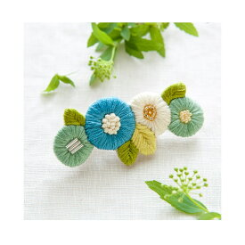 \夏SALE/刺繍 キット piece K.omonoさんの刺しゅうアクセサリーキット fioret hair accessory blue 【メール便可】