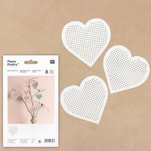 刺繍 用具・用品 ベース ペーパーポエトリー ハート(白) 8ピース 【メール便可】