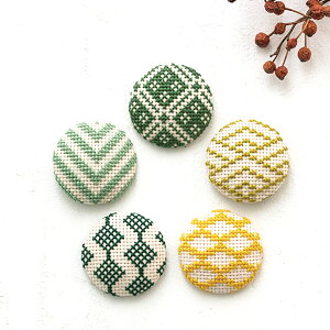 COSMO 包みボタン5個セット 緑|刺繍キット くるみボタン 和模様 釦