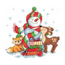 刺繍キット KILART 8-292 Snowman with Gifts スノーマンとプレゼント|クロスステッチ 刺繍キット クリスマス キツネ 小鹿