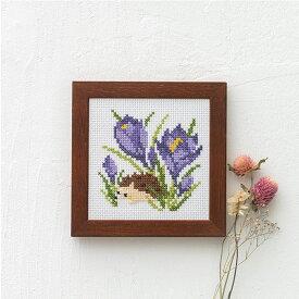 刺繍 キット コスモ かわいいどうぶつと季節のお花 はりねずみとクロッカス 862 木製フレーム付き COSMO ししゅう ししゅうキット