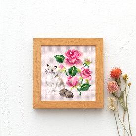 刺繍 キット コスモ かわいいどうぶつと季節のお花 ねことバラ 866 木製フレーム付き COSMO 刺繍キット