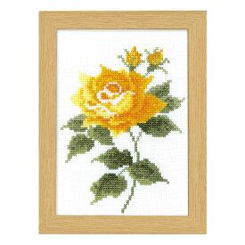 \秋SALE2/刺繍 12ヶ月の花フレーム マリー・カトリーヌコレクション 10月 イエローローズ|クロスステッチ 刺しゅうキット フレーム付