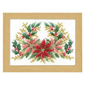 \秋SALE2/刺繍 12ヶ月の花フレーム マリー・カトリーヌコレクション 12月 ポインセチア|クロスステッチ 刺しゅうキット フレーム付