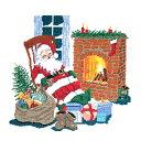 【全品5倍★2000円クーポン配布中】 刺しゅう 輸入キット O.O.E. Santa relaxing fireplace 【送料無料】