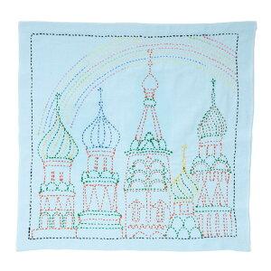 刺し子キット 花ふきん SASHIKO WORLD Russia 虹のかかる宮殿 チューリップ 刺し子 ふきん