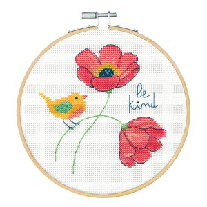 刺繍 Dimensions Be Kind 親切に フープ付き|72-75979 刺繍キット輸入刺繍 クロスステッチキット 花柄 小鳥 初心者