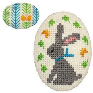 刺繍 刺しゅうキット オリムパス くるみボタン風ブローチ チョウチョとウサギ 【メール便可】| 刺繍キット 初心者 キット 手芸キット 手作り 刺繍セット 手芸セット ハンドメイド ししゅう