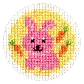 刺繍 刺しゅうキット オリムパス どうぶつシリーズ ラウンドキーリング ウサギ 【メール便可】