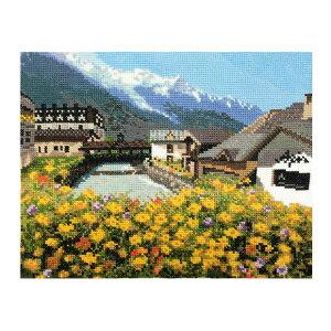 刺繍 コスモ 刺繍キット フランスの風景 No.712 モンブランと麓の街並み |クロスステッチ キット